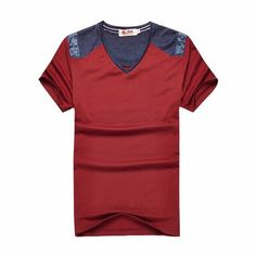Fabric Material:    93%Cotton, 7%Polyester    Lining Material: Cotton   Closure Type:   Standard  Collar: V-neck Fit Type: Regular  Decoration: Patchwork   Thickness:   Standard    Color: Red, Gray, Blue   Occasion:   Casual, Fashion   Season:   Summer   Tag Size: M, L, XL, 2XL, 3XL    Package included:   1*T-shirt       Please Note:                1.Please see the Size Reference to find the correct size.