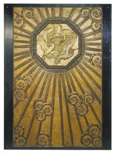 """Elevator Doors """"Les Cigognes d'Alsace"""". Edgar Brandt, 1922-1928.   The Victoria & Albert Museum"""