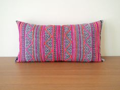 Vintage Batik Hmong Pillow Cover, Indigo Handcrafted Cotton Cushion Cover, Tribal Throw Pillow Case, Hill Tribe Tradition Ethnic Pillow Case.  This beautiful ethnic pillow cover is designed using the Thailands Hmong hilltribe handwoven vintage batik fabric with bright and vibrant colors stripes.  Crafted from all-cotton fabric, this cushion cover with indigo intricate Hmong tradition motif patterns can add a splash of Thai hill tribe style to your decor. Pillow cover features a reverse side…