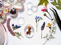 Work in progress, pressed flowers, dry flower, glass, nature pendant