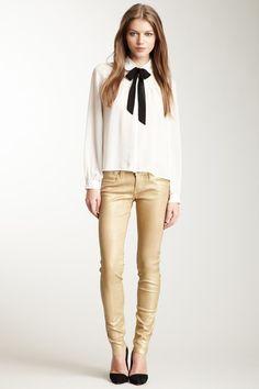 Peter pan blouse + metallic jegging | frankie b