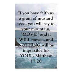 Matthew 17:20  Motivational Bible Quote Personalized Stationery