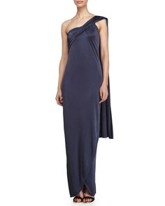 One Shoulder Wrap Gown, Size: X-LARGE, Grey - Halston Heritage