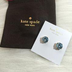 Kate Spade Gumdrop Earrings Kate Spade gumdrop stud earrings. 12 karat gold plated metal. 14 karat gold filled posts. Grace blue color. kate spade Jewelry Earrings