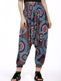 Fashionable Relaxed Floral Print Pants