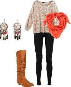 sweater, boot, woman fashion, dream catchers, cloth, fall outfits, polyvore outfits, winter outfits, earring