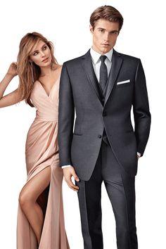 Charcoal Manhattan by Ike Behar - Luxury wool, 2 button, Grey, Shown with matching accessories. Tuxedo by Savvi Formalwear St. Tuxedo Wedding, Wedding Groom, Wedding Ceremony, Groomsmen Suits, Mens Suits, Tux Rental, Slim Fit Tuxedo, Gray, Dark Grey
