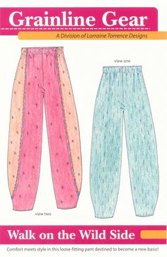 Grainline Gear Walk on the Wild Side pants pattern. these look oh so comfy Sewing Pants, Sewing Clothes, Diy Clothes, Vintage Sewing Patterns, Clothing Patterns, Dress Patterns, Pants Pattern Free, Elastic Waist Pants, Loose Pants
