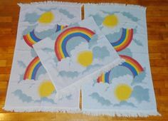 This listing is for a 3 Vintage Groovy 1970s Blue & Purple Rainbow Sunset Bath Towels. Each Bath Towel measures approx 38 by 21 inch~ including fringes. Estate sale find that is gently used and is very old. No tags so I am unsure of the maker. Not a thick material but also not super thin either. These have been used, show light fading and ware and have been laundered. See pics.