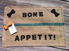 Organic Earth Friendly Hand Stenciled Gunny Sack Dog Food Mat, Upcycled, Recycled, Eco Friendly Coffee Bean Gunny Sack Dog Food Mat on Etsy, $24.00