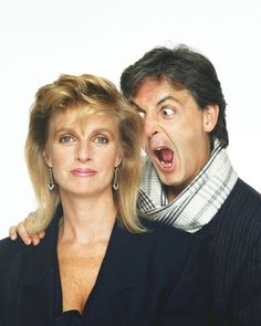 Rare Beatles Pictures. A silly Paul with his wife, Linda.