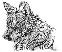 Black and White Feather Drawings | Dreamer (Mexican Wolf): I called this one Dreamer as I believe all ...