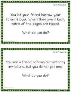 FREE social skills problem solving task cards.