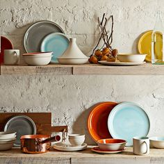 I want these in my kitchen. Love the colors. // Jars Cantine 16-Piece Dinnerware Place Setting | Williams-Sonoma