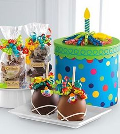 Mrs. Prindable's® Happy Birthday Gourmet Gift Box. Anyone would love this colorful merry go round box filled with goodies. Any age 5 to a 100 would love this.