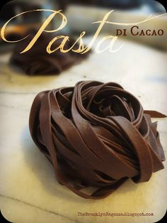 Savory Chocolate Pasta ~ Something to impress your guests. It's savory, not sweet & best served with a cream sauce.