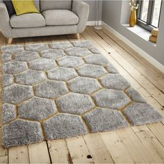 Szary dywan Think Rugs Noble House cm Mustard Living Rooms, Grey And Yellow Living Room, Grey Yellow, Living Room Themes, Rugs In Living Room, Living Spaces, Lounge Rug, Grey Lounge, Lounge Decor