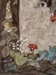 Hooked Rug ... Tasha's Goat ... On The Frame ... Hooked And Color Planned by Maureen Lowrey ... Pattern By Laura Schulze