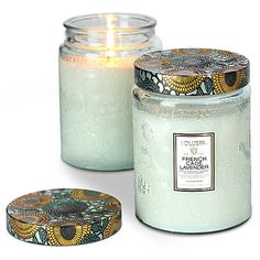 Limited Edition French Cade Lavender Large Embossed Glass Jar Candle
