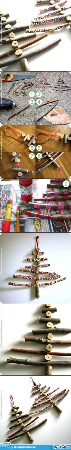 Christmas decor - DIY Christmas Tree ornaments using twigs. need drill and saw or loppers. How about using wine corks in between or as the trunk?