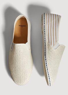 Mango Laser Cut Cotton Espadrille - Off White 8 Slip On Shoes, Men's Shoes, Shoes Sneakers, Shoes Men, Trendy Shoes, Casual Shoes, Espadrilles Men, Loafers, Tennisschuhe Outfit