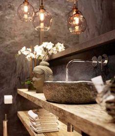 Modern bathroom and amazing sink design by ? Modern bathroom and amazing sink design by ? Zen Bathroom Decor, Rustic Bathroom Designs, Bathroom Spa, Bathroom Interior Design, Modern Interior Design, Modern Bathroom, Spa Room Decor, Modern Sink, Balinese Bathroom