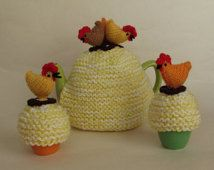 Country Chickens Novelty Tea Cosy and Egg Cosy Knitting Pattern