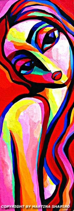 Sensual Red And Pink Nude original acrylic painting by artist Martina Shapiro, contemporary fine art abstract nudes