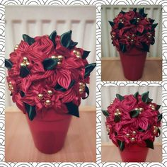 #ribbonflower #kanzashi #christmas #christmasrose