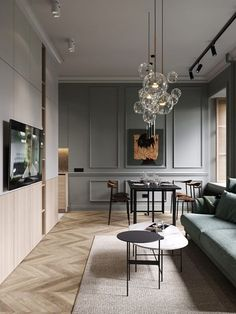 A Moody St.Petersburgh Apartment Interior Under 75 Square Meters (Includes Floor Plan) Home Living Room, Interior Design Living Room, Living Room Decor, Interior Decorating, Interior Design For Apartments, Interior Ideas, Decorating Tips, Modern Apartment Design, Interior Livingroom