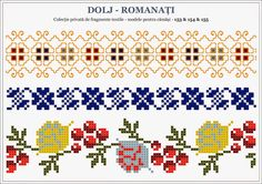 Semne Cusute: traditional Romanian motifs - OLTENIA - Dolj-Roman... Beaded Cross Stitch, Cross Stitch Borders, Cross Stitch Designs, Cross Stitch Patterns, Blackwork Embroidery, Embroidery Motifs, Cross Stitch Embroidery, Loom Beading, Beading Patterns