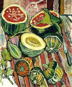 still-life idea: John Bratby Honeydew and Watermelon and Turban and Pear and Gourds 1961 Art And Illustration, Illustrations, John Bratby, Still Life Artists, A Level Art, Love Art, Oeuvre D'art, Art Inspo, Painting & Drawing