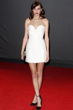 Joking that she was angry about being overlooked for the British Style Award—she's won the past three years in a row—Alexa Chung still managed to look like a winner in her creamy Stella McCartney cocktail dress. A studded clutch and black heels, both from Burberry, completed the Rule Britannia look. Hey girl, there's always next year.