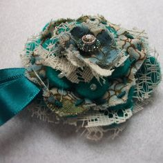 Vintage fabric layered brooch
