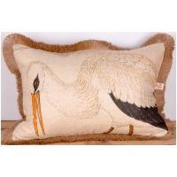 White Ibis / Jute Fringe Lumbar Pillow