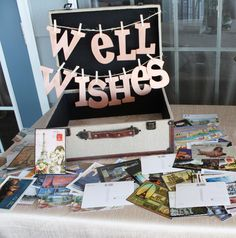 """""""Well Wishes"""" postcard guestbook :: Made by www.kylemichelleweddings.com"""