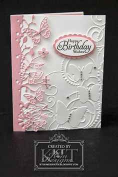 Memory Box Kensington Border plus Darice Butterfly embossing folder * LATEST CARDS* Pinned from KT Hom Designs Blog