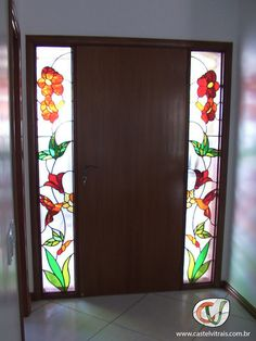 Glass Painting Patterns, Glass Painting Designs, Stained Glass Designs, Stained Glass Projects, Stained Glass Patterns, Etched Glass Door, Stained Glass Door, Stained Glass Flowers, Stained Glass Panels