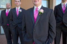 Hot pink and black groomsmen