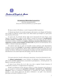Audizione: Linee Programmatiche Ministro Affari Regionali by Alberto Cardino - AGEVOFACILE via slideshare