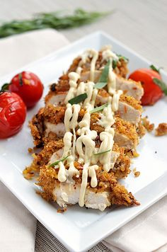 Tarragon Mustard Chicken - The breading is coconut & crushed plantains! Yum