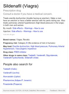 Google knowledge graph on drugs