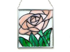 Rose panel, peachy pink stained glass, Summer rose panel suncatcher, gift for Mom, love, romance, flower suncatcher, small window panel - pinned by pin4etsy.com