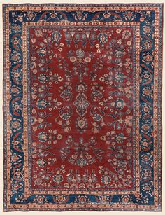 """MANCHESTER KASHAN, 7' 8"""" x 9' 11"""" — Circa 1910 —Price: $4,200, Central Persian Antique Rug - Claremont Rug Company"""
