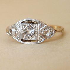 Art Deco Diamond Ring Geometric Antique Diamond Ring by luxedeluxe, $198.00