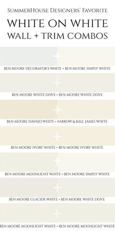 The SummerHouse Interior Designers share their favorite white on white paint color combinations on Always Summer Design Blog! www.alwayssummerblog.com . @benjamin_moore