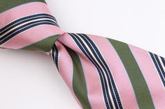 $295+ BORRELLI Pink Striped 7 Seven Fold mens Silk Tie #Borrelli #Tie
