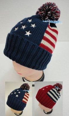 9b7be402479 Americana Toboggan Thick Warm Winter Hat with Pom Pom Red Blue Unisex Adult  New!