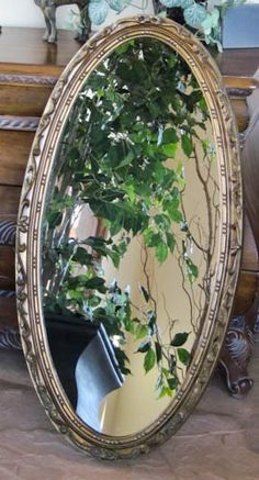 Wall Mirror Goldtone Long Slender Oval 1930s Mirror 19 x 36    olliesfinethings - Home Decor on ArtFire