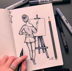 Disney Art Drawings Sketches Pencil Coloring 17 New Ideas Easy Pencil Drawings, Easy People Drawings, Girly Drawings, Doodle Drawings, Drawing People, Disney Drawings, Doodle Art, Cute Drawings Of Girls, Drawing Disney